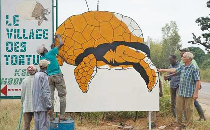 A large effigy of a Sulcata Tortoise being erected to encourage visitors to the Sulcata Tortoise Village.