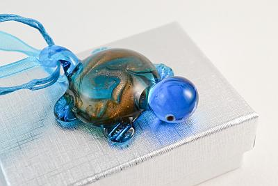 glass pendant blue