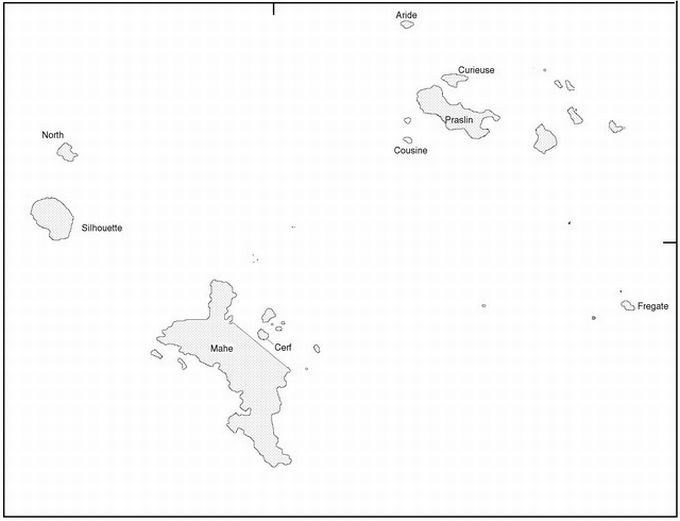 Map of the granitic islands of Seychelles