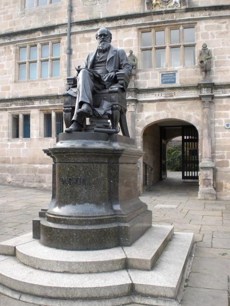 Fig. 1. Statue of Charles Darwin outside his old school in Shrewsbury, now the town library. Photos by June Chatfield.
